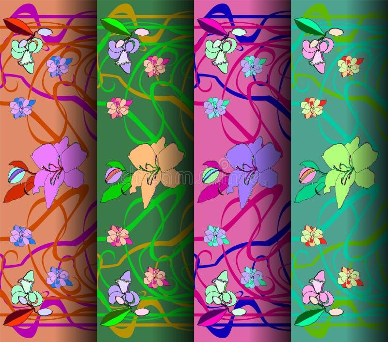 Σύνολο τεσσάρων σχεδίων στο ύφος Nouveau τέχνης επίσης corel σύρετε το διάνυσμα απεικόνισης ελεύθερη απεικόνιση δικαιώματος