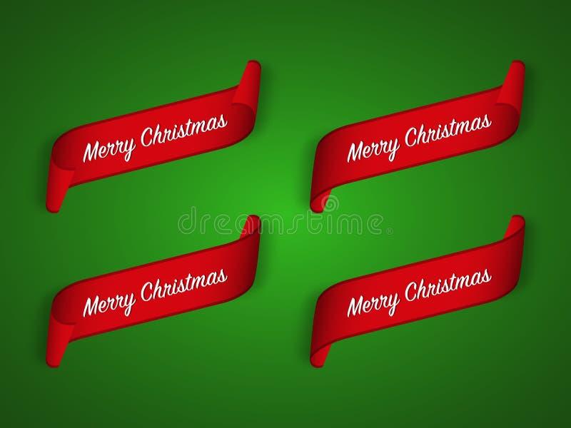 Σύνολο τεσσάρων σύγχρονων κόκκινων κορδελλών Χριστουγέννων στο πράσινο υπόβαθρο διανυσματική απεικόνιση