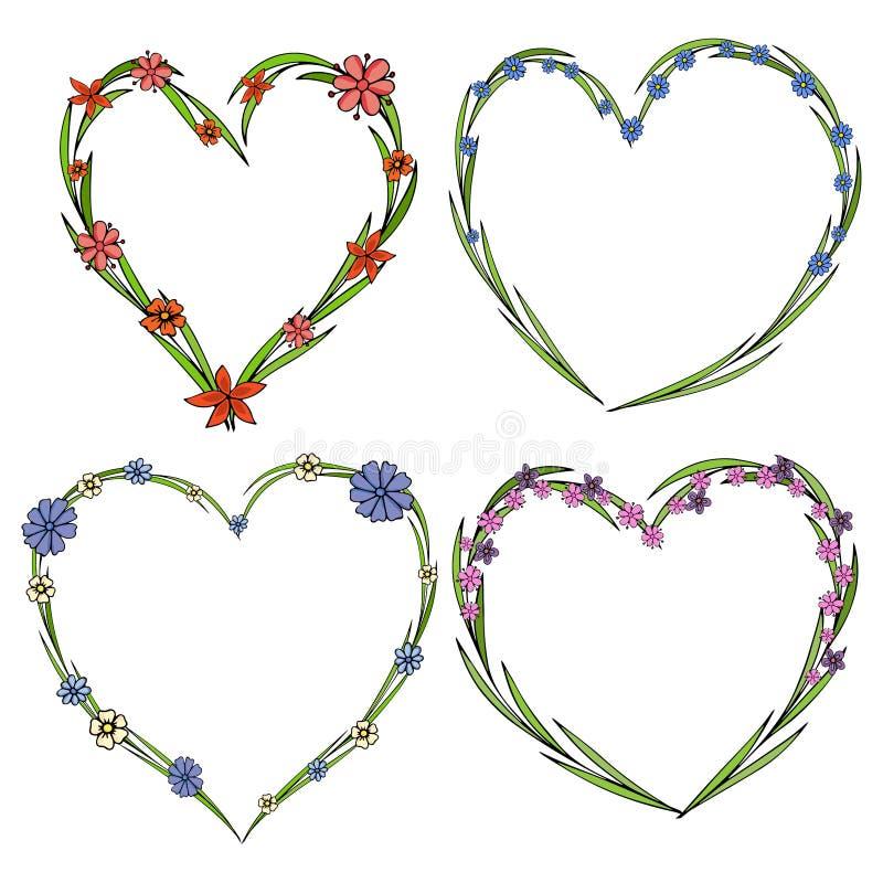 Σύνολο τεσσάρων όμορφων στεφανιών λουλουδιών με μορφή μιας καρδιάς Κομψή συλλογή λουλουδιών με τα φύλλα και τα λουλούδια ελεύθερη απεικόνιση δικαιώματος