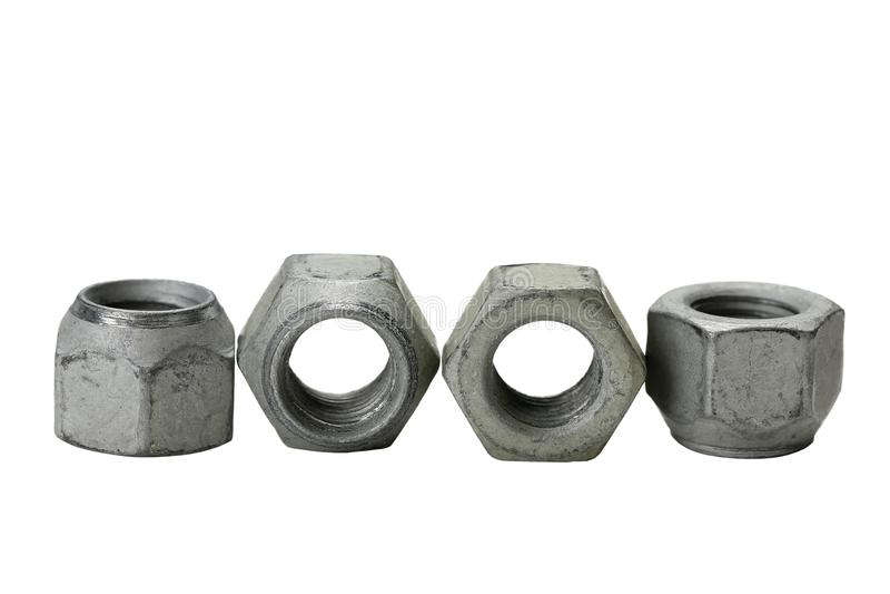 Σύνολο τετράτροχων καρυδιών, βιομηχανικά αντικείμενα στοκ εικόνες