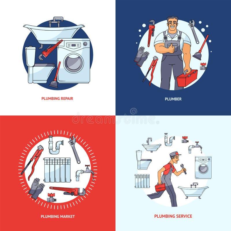 Σύνολο τετραγωνικών σχεδίων εμβλημάτων υπηρεσιών υδραυλικών διανυσματική απεικόνιση