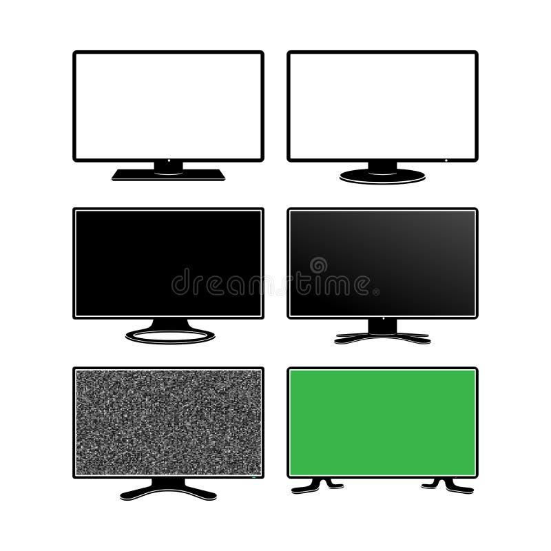 Σύνολο τηλεοπτικού γραφικού εικονιδίου Επίπεδο σημάδι TV τεχνολογίας οργάνων ελέγχου επίσης corel σύρετε το διάνυσμα απεικόνισης  διανυσματική απεικόνιση
