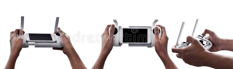 Σύνολο τηλεχειρισμού κηφήνων εκμετάλλευσης χεριών που απομονώνεται στο άσπρο υπόβαθρο στοκ φωτογραφία με δικαίωμα ελεύθερης χρήσης
