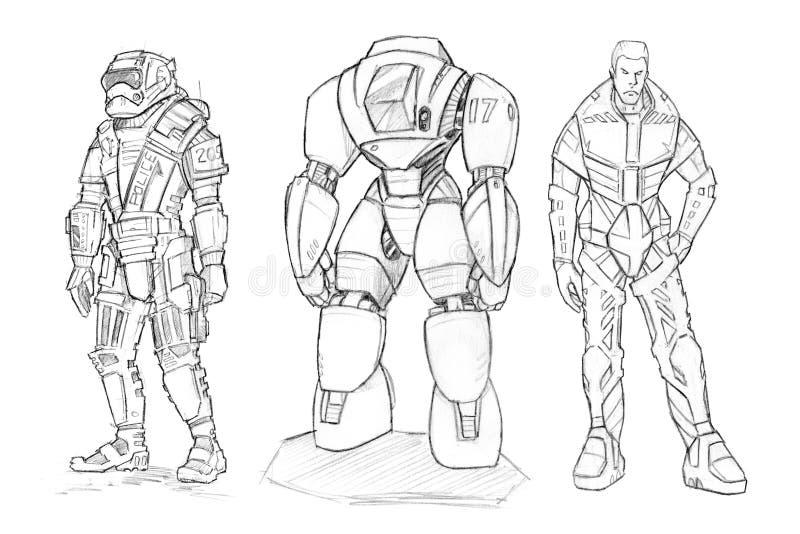 Σύνολο τραχιών σχεδίων μολυβιών των διάφορων χαρακτήρων στο κοστούμι sci-Fi απεικόνιση αποθεμάτων