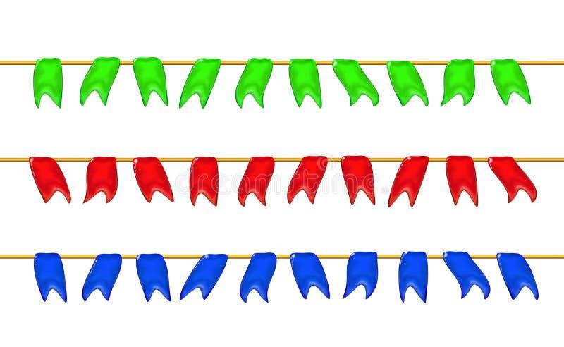 Σύνολο, τρισδιάστατες στιλπνές μικρές σημαίες ή σημαίες γιρλαντών από ένα σχοινί, που κρεμά για τις διακοπές, ρεαλιστικό πλαστικό ελεύθερη απεικόνιση δικαιώματος