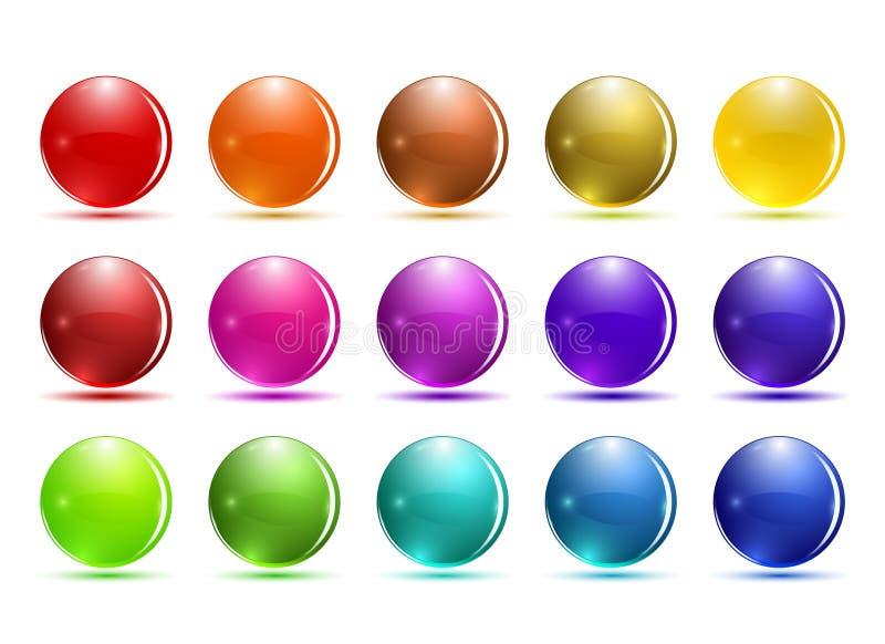 Σύνολο τρισδιάστατου κουμπιού γυαλιού Στιλπνά εικονίδια για τον Ιστό διανυσματική απεικόνιση