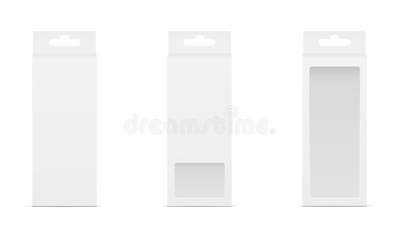 Σύνολο τριών κιβωτίων με το διαφανείς παράθυρο και την κρεμάστρα ελεύθερη απεικόνιση δικαιώματος