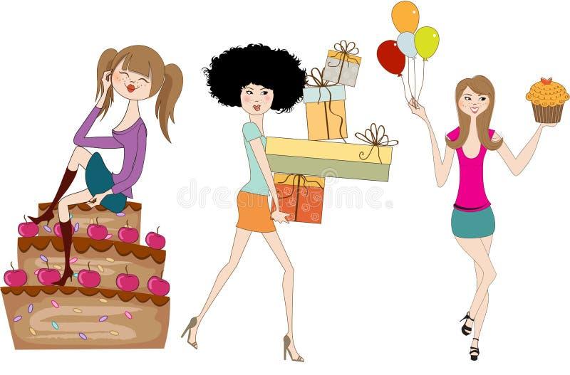 Σύνολο τριών νέων κοριτσιών στη γιορτή γενεθλίων διανυσματική απεικόνιση