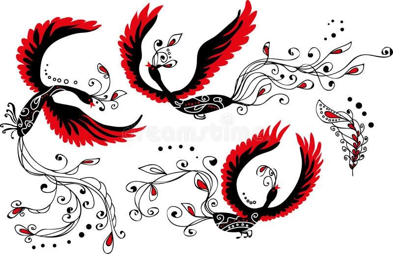 Σύνολο τριών πουλιών και φτερού οργασμού ελεύθερη απεικόνιση δικαιώματος
