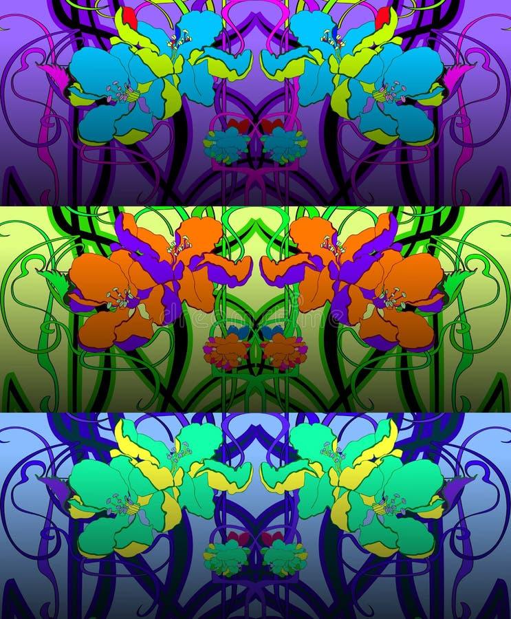 Σύνολο τριών σχεδίων στο ύφος Nouveau τέχνης επίσης corel σύρετε το διάνυσμα απεικόνισης διανυσματική απεικόνιση