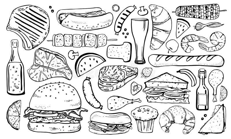 Σύνολο τροφίμων πικ-νίκ, σχαρών και σχαρών Συρμένη διανυσματική απεικ ελεύθερη απεικόνιση δικαιώματος