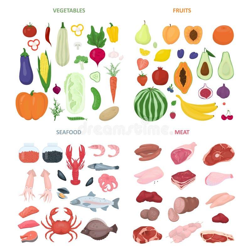 Σύνολο τροφίμων Συλλογή του διάφορων γεύματος, των ψαριών και του κρέατος απεικόνιση αποθεμάτων
