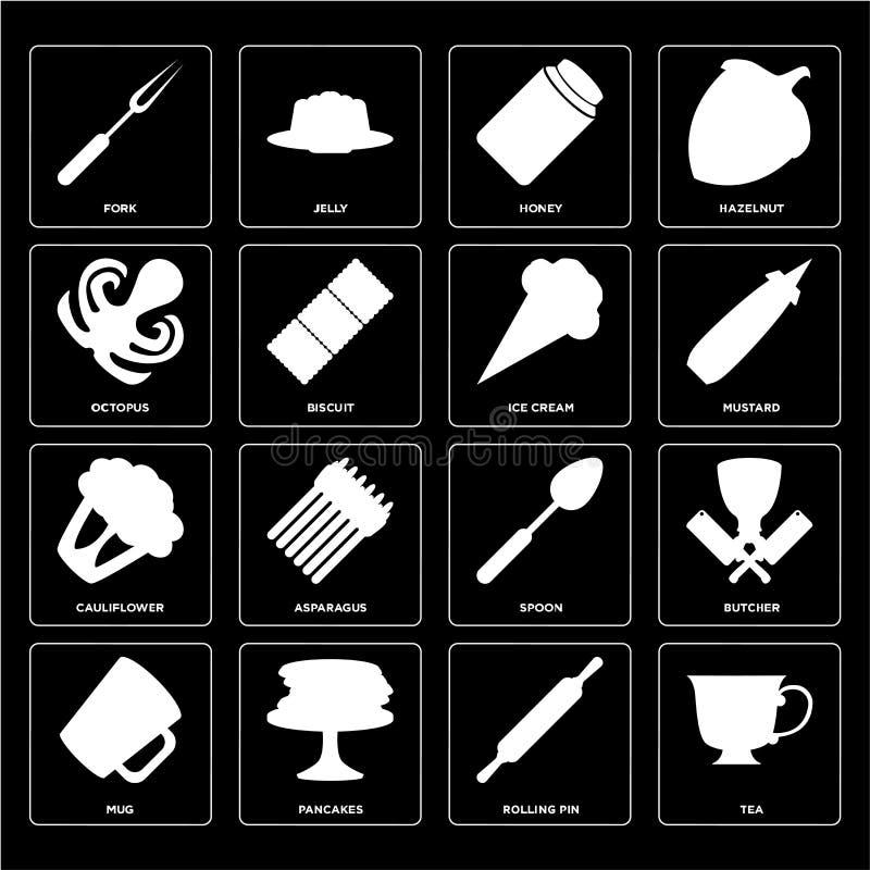 Σύνολο τσαγιού, κυλώντας καρφίτσα, κούπα, κουτάλι, κουνουπίδι, παγωτό, Οκτώβριος ελεύθερη απεικόνιση δικαιώματος