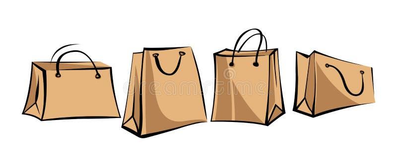 Σύνολο τσαντών εγγράφου του Κραφτ για τις αγορές στο αναδρομικό ύφος Απομονωμένα αντικείμενα στο άσπρο υπόβαθρο ελεύθερη απεικόνιση δικαιώματος