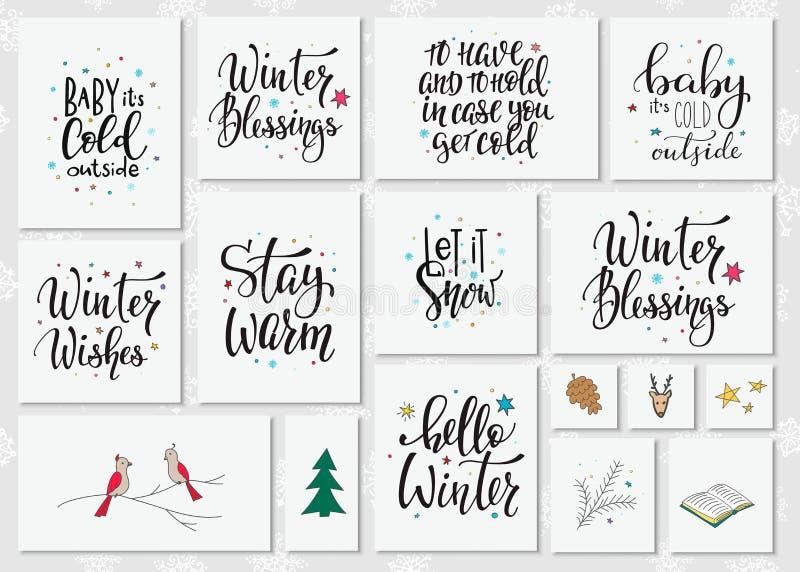 Σύνολο τυπογραφίας εγγραφής χειμερινής εποχής Χριστουγέννων απεικόνιση αποθεμάτων