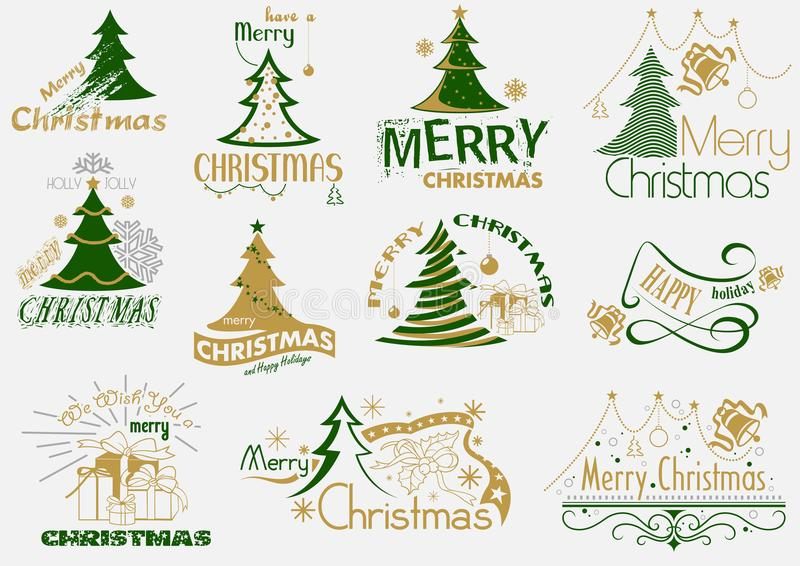 Σύνολο τυπογραφίας Χαρούμενα Χριστούγεννας διανυσματική απεικόνιση