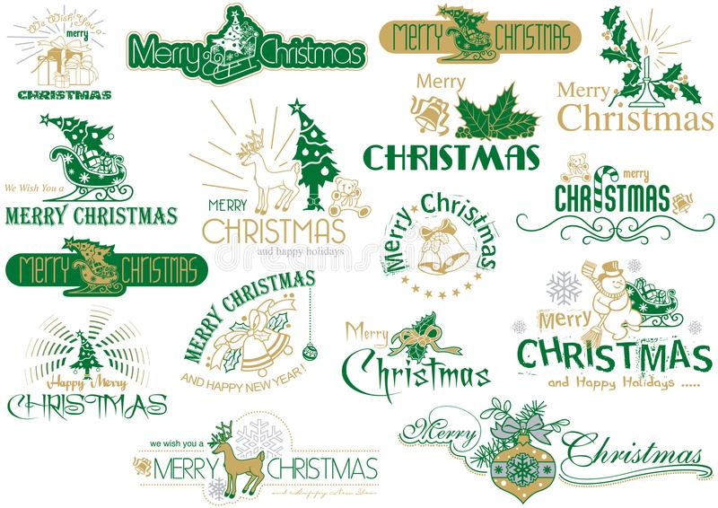 Σύνολο τυπογραφίας Χαρούμενα Χριστούγεννας απεικόνιση αποθεμάτων