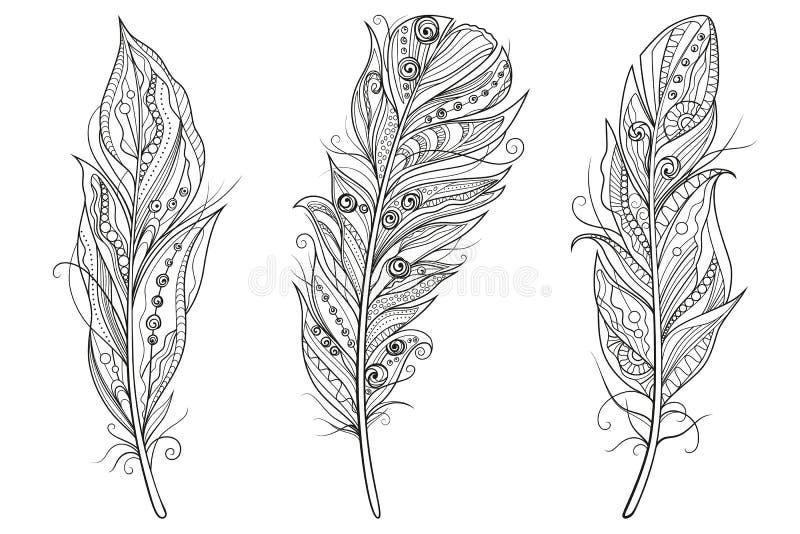 Σύνολο τυποποιημένων φτερών περιλήψεων στο άσπρο υπόβαθρο Ιδιαίτερα λεπτομερή διανυσματικά και zentangle ύφος απεικόνισης διανυσματική απεικόνιση