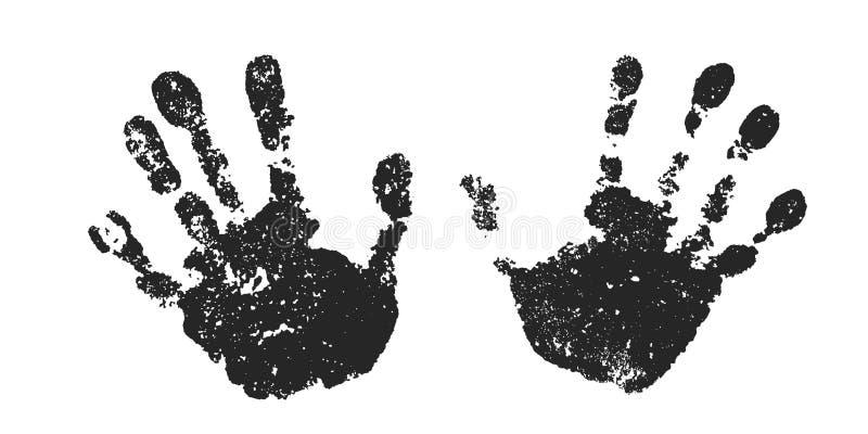 Σύνολο τυπωμένων υλών χεριών που απομονώνεται στο άσπρο υπόβαθρο Μαύρα ανθρώπινα χέρια χρωμάτων Παιδί σκιαγραφιών, παιδί, νέοι ha διανυσματική απεικόνιση