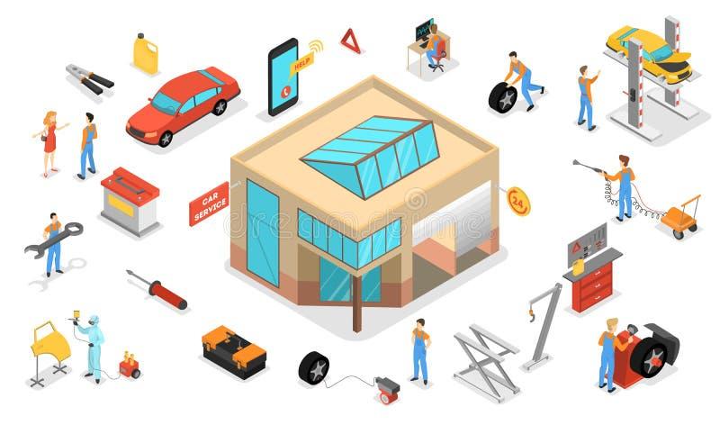 Σύνολο υπηρεσιών αυτοκινήτων Οι άνθρωποι επισκευάζουν το αυτοκίνητο χρησιμοποιώντας το επαγγελματικό εργαλείο διανυσματική απεικόνιση