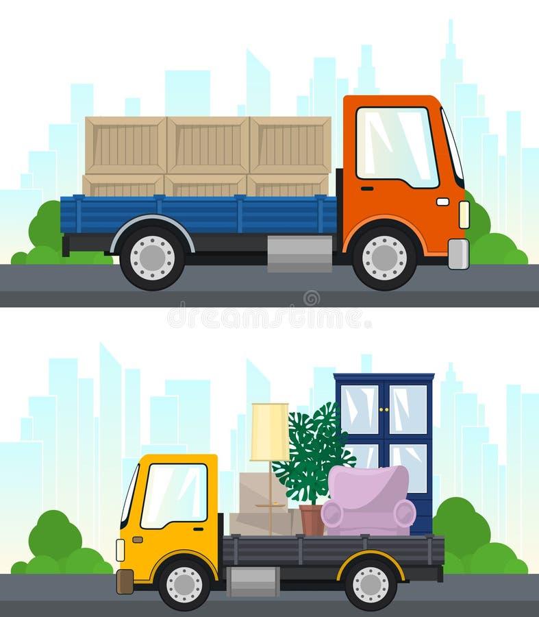 Σύνολο υπηρεσιών και διοικητικών μεριμνών μεταφορών διανυσματική απεικόνιση