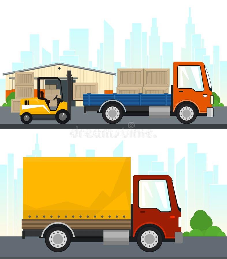 Σύνολο υπηρεσιών φορτίου και αποθήκευσης απεικόνιση αποθεμάτων