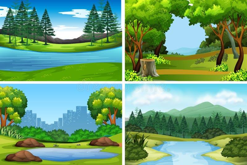 Σύνολο υποβάθρων φύσης απεικόνιση αποθεμάτων