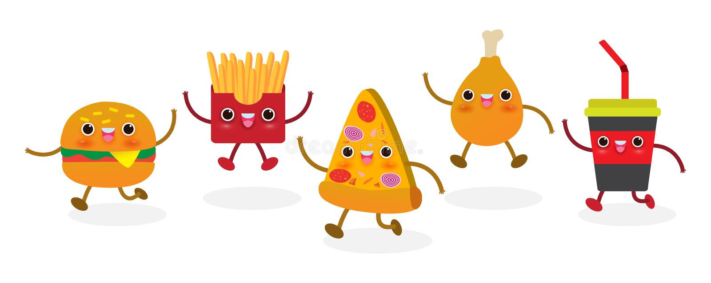 Σύνολο φέτας πιτσών αστείο Γρήγορο γεύμα Σχέδιο πιτσών Διανυσματικός χαρακτήρας κινουμένων σχεδίων απεικόνισης που απομονώνεται σ απεικόνιση αποθεμάτων