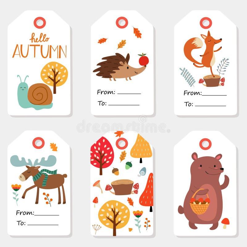 Σύνολο φθινοπώρου ετικεττών πώλησης και δώρων, ετικέτες με τις χαριτωμένες απεικονίσεις, στοιχεία διασκέδασης, συρμένη χέρι εγγρα ελεύθερη απεικόνιση δικαιώματος