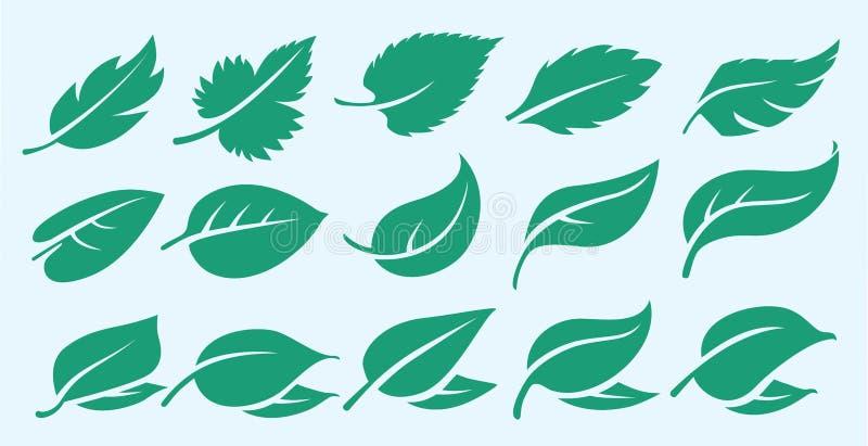 Σύνολο φιλικών προς το περιβάλλον φρέσκων φύλλου/φύλλων λογότυπων εικονιδίων τροφίμων eco ανανεώσιμων συμβολικών βιώσιμων φυσικών απεικόνιση αποθεμάτων