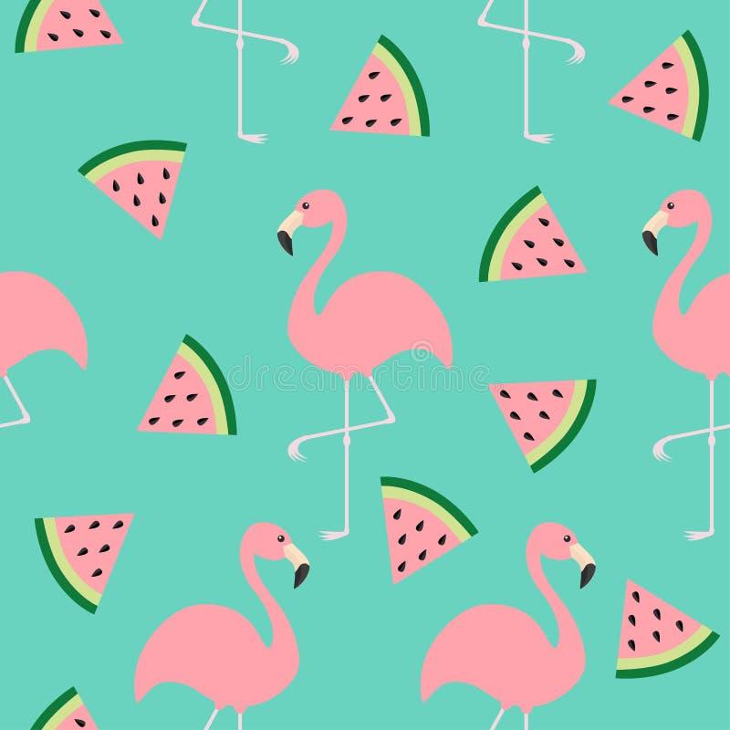 Σύνολο φλαμίγκο Άνευ ραφής εξωτικό τροπικό πουλί σχεδίων Σπόροι φετών τριγώνων καρπουζιών Ζωική συλλογή ζωολογικών κήπων Χαριτωμέ διανυσματική απεικόνιση