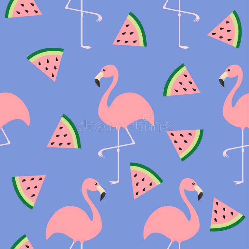 Σύνολο φλαμίγκο Άνευ ραφής επίπεδο σχέδιο σχεδίων Εξωτικό τροπικό πουλί Σπόροι φετών τριγώνων καρπουζιών Ζωική συλλογή ζωολογικών ελεύθερη απεικόνιση δικαιώματος