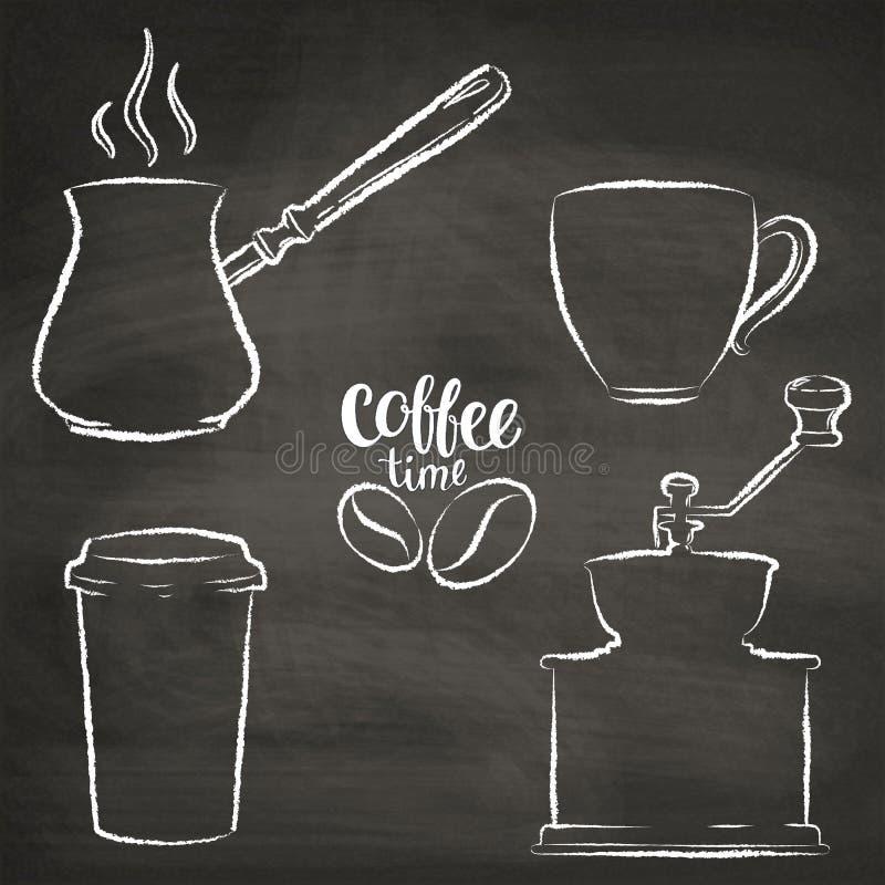 Σύνολο φλυτζανιού καφέ, μύλος, περιγράμματα δοχείων grunge διανυσματική απεικόνιση