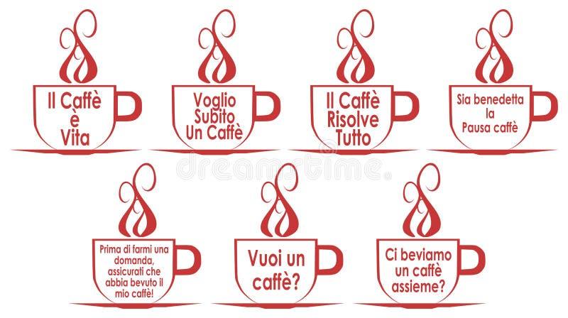 Σύνολο φλυτζανιών καφέ με τις προτάσεις, που απομονώνεται, στα ιταλικά ελεύθερη απεικόνιση δικαιώματος
