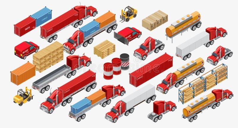 Σύνολο φορτηγών και αγαθών φορτίου διανυσματική απεικόνιση