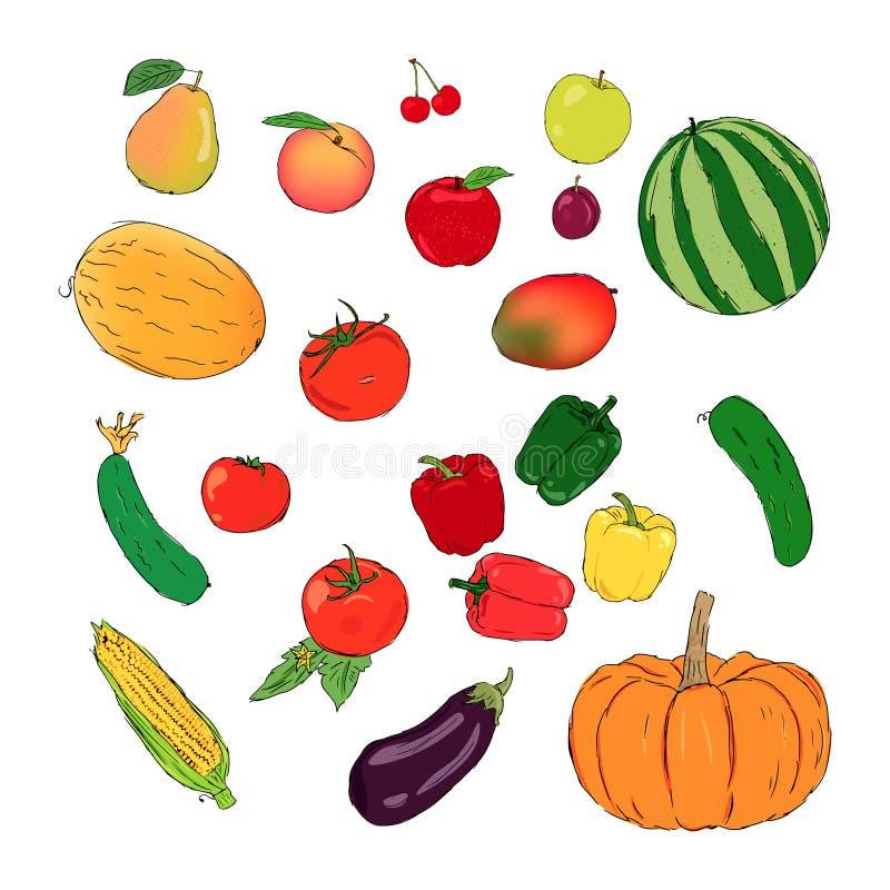 Σύνολο φρέσκου διανύσματος φρούτων και λαχανικών διανυσματική απεικόνιση
