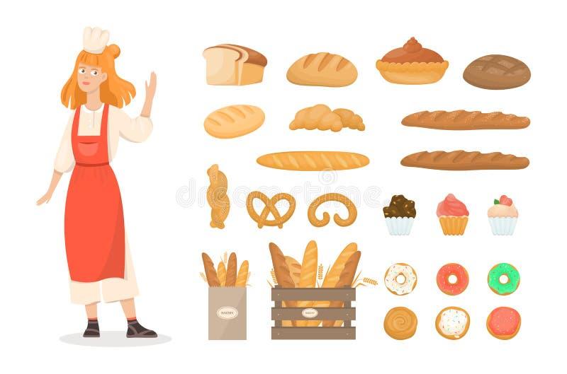 Σύνολο φρέσκων προϊόντων αρτοποιίας Ψωμί και μπισκότα ελεύθερη απεικόνιση δικαιώματος