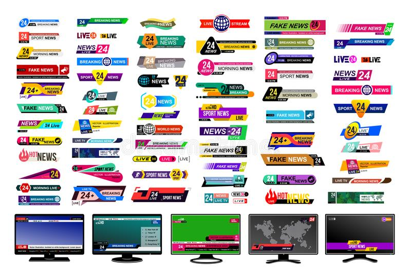 Σύνολο φραγμών ειδήσεων TV Σημάδι ειδήσεων σχεδίου, βίντεο ροής Σπάσιμο, απομίμηση, αθλητικές ειδήσεις Σημάδι διεπαφών Πρότυπα πρ απεικόνιση αποθεμάτων