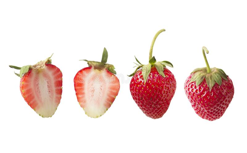 Σύνολο φραουλών που απομονώνεται στο λευκό που αποκόπτει στοκ φωτογραφία με δικαίωμα ελεύθερης χρήσης