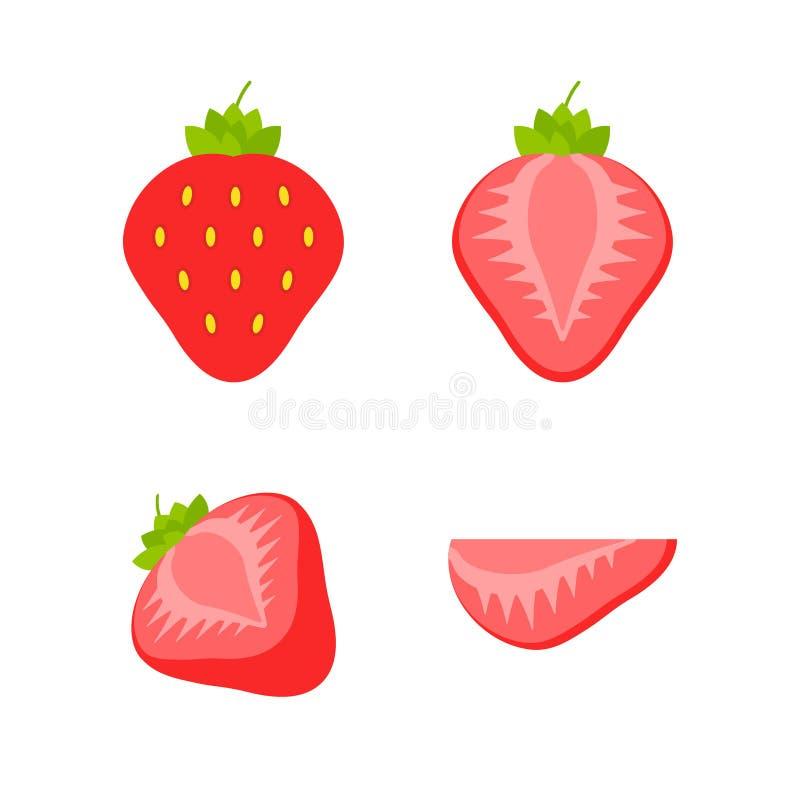 Σύνολο φρούτων και μούρων Θερινά φρούτα Μήλο φρούτων, αχλάδι, φράουλα, πορτοκάλι, ροδάκινο, δαμάσκηνο, μπανάνα, καρπούζι, ακτινίδ διανυσματική απεικόνιση