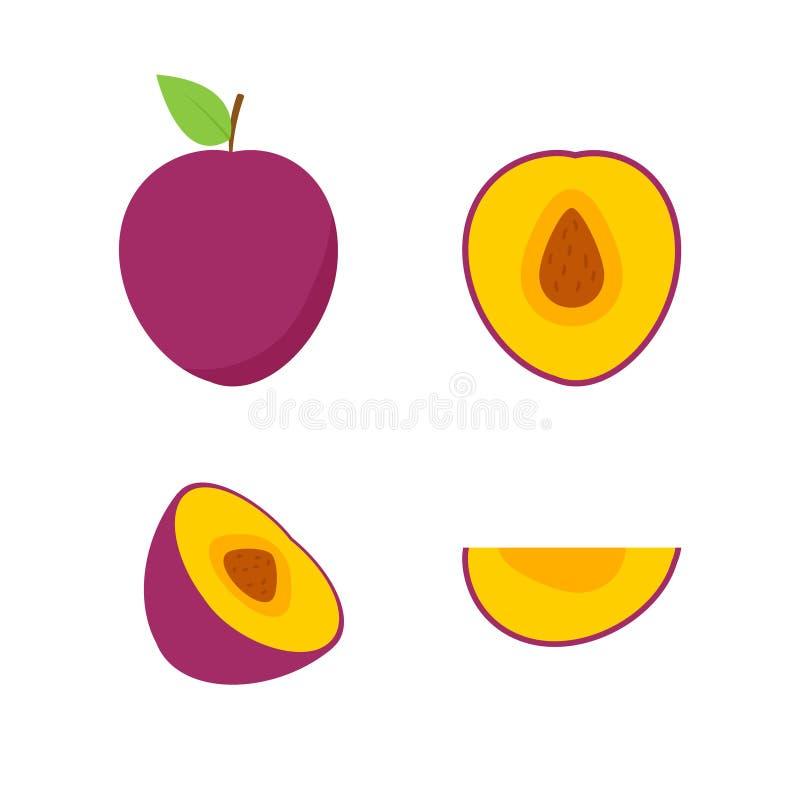 Σύνολο φρούτων και μούρων Θερινά φρούτα Μήλο φρούτων, αχλάδι, φράουλα, πορτοκάλι, ροδάκινο, δαμάσκηνο, μπανάνα, καρπούζι, ακτινίδ ελεύθερη απεικόνιση δικαιώματος