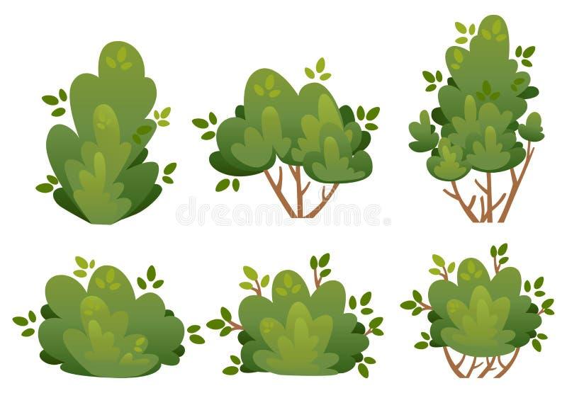 Σύνολο φυσικών δέντρων των Μπους και κήπων για το εξοχικό σπίτι πάρκων και απεικόνιση ναυπηγείων που απομονώνεται στην άσπρα σελί απεικόνιση αποθεμάτων