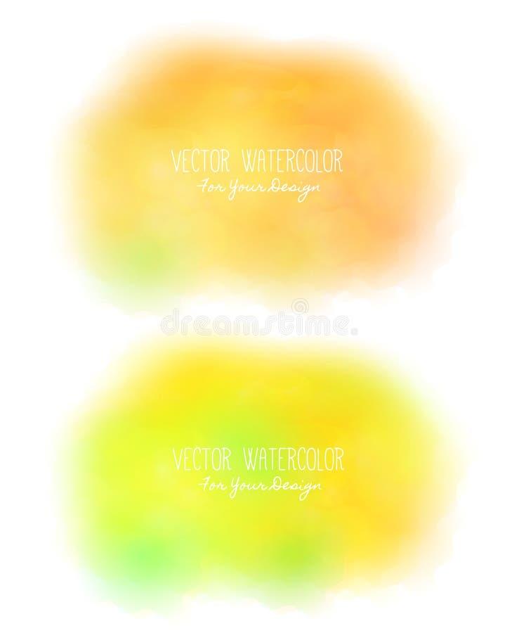 Σύνολο 2 φωτεινών λεκέδων Ψευδο watercolor σύσταση χρωμάτων Ζωηρόχρωμο επίχρισμα Μπορεί να χρησιμοποιηθεί ως υπόβαθρο για το κείμ ελεύθερη απεικόνιση δικαιώματος