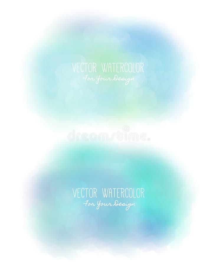 Σύνολο 2 φωτεινών λεκέδων Ψευδο watercolor σύσταση χρωμάτων Ζωηρόχρωμο επίχρισμα Μπορεί να χρησιμοποιηθεί ως υπόβαθρο για το κείμ διανυσματική απεικόνιση