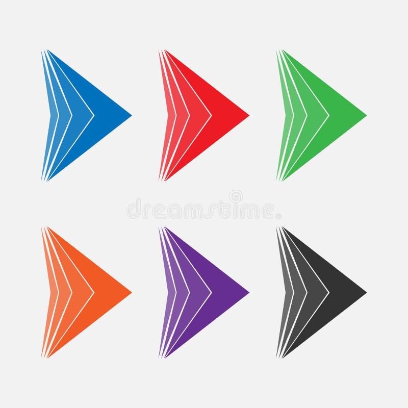 Σύνολο φωτεινών χρωματισμένων βελών διανυσματική απεικόνιση