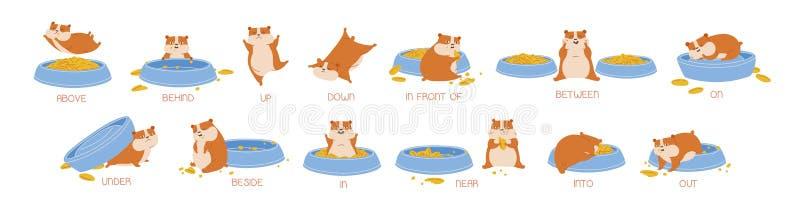 Σύνολο χάμστερ που καταδεικνύει τις αγγλικές προθέσεις της θέσης και της μετακίνησης Δέσμη του αστείου ζώου με τον τροφοδότη και  διανυσματική απεικόνιση