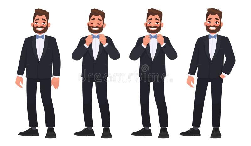 Σύνολο χαρακτήρα ένα γενειοφόρο άτομο σε ένα επιχειρησιακό κοστούμι με έναν δεσμό τόξων διανυσματική απεικόνιση