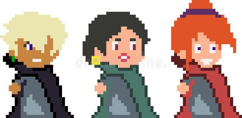 Σύνολο χαρακτήρων εικονοκυττάρου στο ύφος τέχνης στοκ εικόνα με δικαίωμα ελεύθερης χρήσης