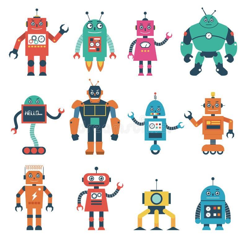 Σύνολο χαρακτήρων ρομπότ που απομονώνονται στο άσπρο υπόβαθρο διανυσματική απεικόνιση