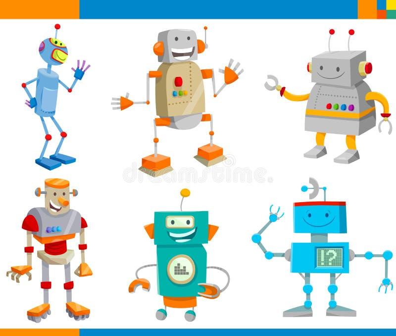 Σύνολο χαρακτήρων ρομπότ φαντασίας κινούμενων σχεδίων απεικόνιση αποθεμάτων